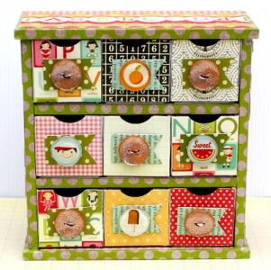 fabric covered mini drawers