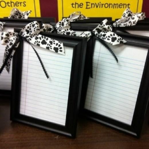 ruled paper dry-erase framed memo board