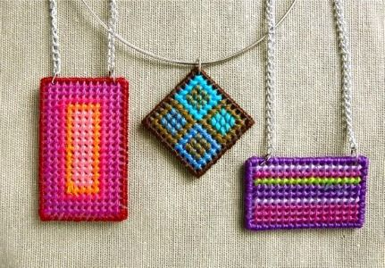 plastic canvas needlepoint necklace