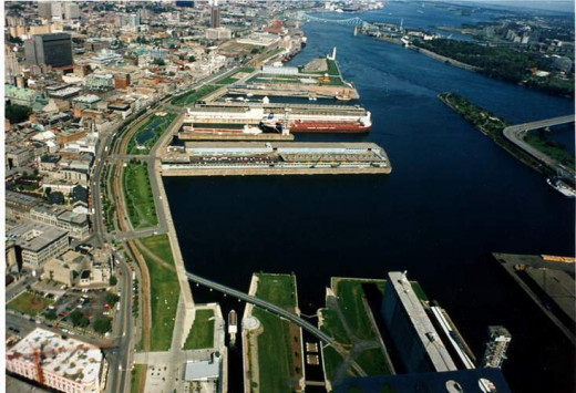 Toward the east ~the Old Port waterfront is 2 kilometers long with the Lachine Canal at it's west end.