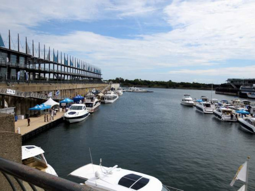 Port d'escale-marina in the Jacques Cartier Basin. Not shown here is the Bonsecours basin with same name island, pedalo rental and playground for kids