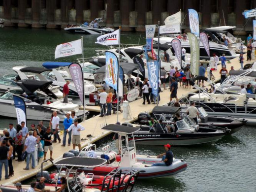 Boat show. Shoes off to board or try the boats