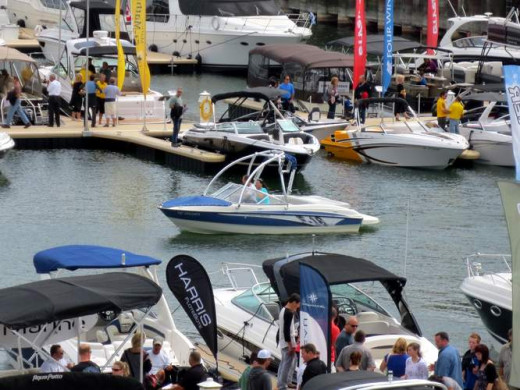 Another one from the In Water Boat Show. Someone's taking a test drive.