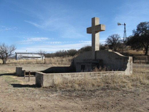 The monument to Fray Marcos de Niza, first European to enter Arizona, sits along a lonely stretch of road just north of the Mexican border in the Coronado National Forest in southern Arizona.