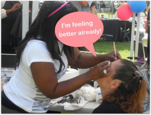 Self esteem is one of the first things that go when you are at risk of homelessness, or are actually living on the streets.  The Stand Down had booths for hair cuts, makeup, eyebrows, and hairstyling, all the things that a homeless female often negle