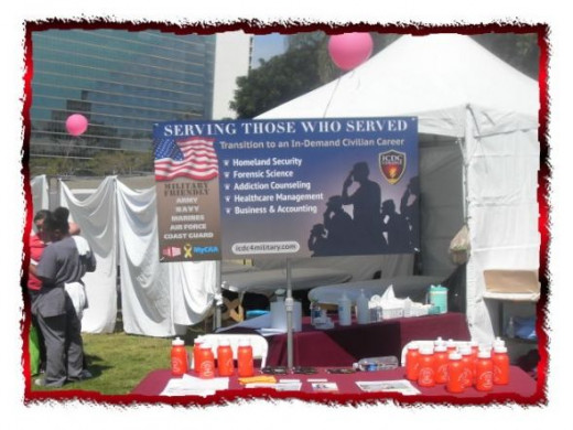The Women's Bureau of the U. S. Department  of Labor and U.S. Vets, a United States Veterans Initiative were sponsors of the Stand Down in Long Beach, CA.