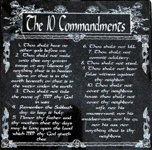 The Ten Commandments in English on Ambassador Black Marble