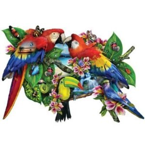 Parrots in Paradise Shaped Jigsaw Puzzle
