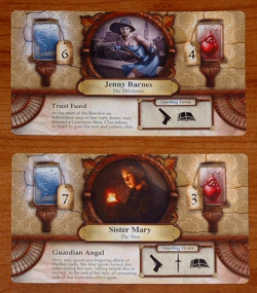 Character cards from the board game Elder Sign