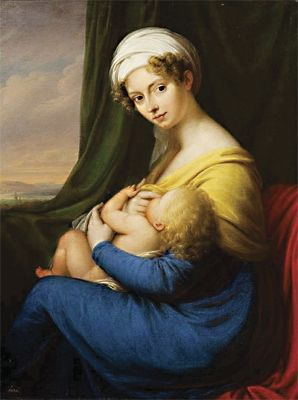 This image shows a young Russian woman and her child and dates from 1818, when Cosette would have still been an infant.