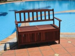 Outdoor storage bench near your swimming pool.