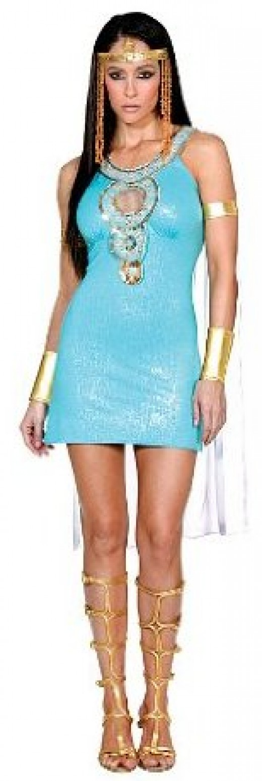 Above the Knee Sexy Teal Cleopatra Costume
