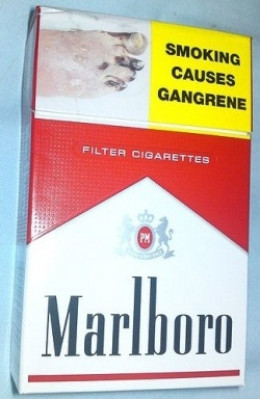 The front of a 20 pack of Marlboro red cigarettes sold in New Zealand.