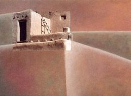 """Pueblo Top"" - Photo/Mixed Media Painting"