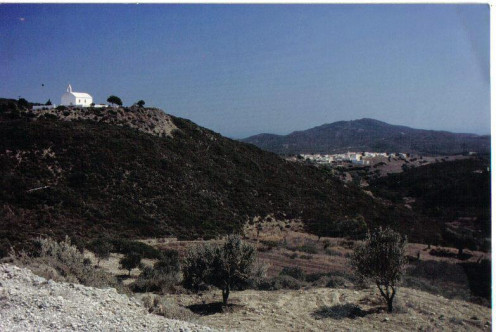 The little monastery of Ayios Nektarios can be seen for miles around peacefully watching over Mesanagros.