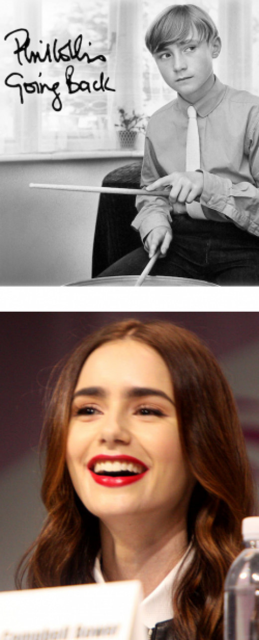 Above: Young Phil Collins on the Cover of his last album. Below: Daughter Lily Collins.