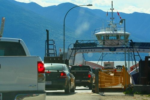 Driving onto the Ferry