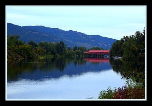 Beautiful reflections of this bridge in Sandpoint, Idaho on the water.  The Railroad bridge near Sandpoint