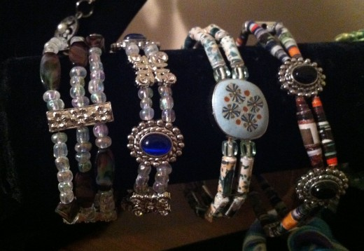 Pretty bracelets, the two on the left have magnetic clasps.