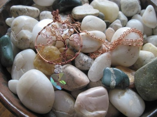 Tree of Life with pink crystals and pink heart pendant