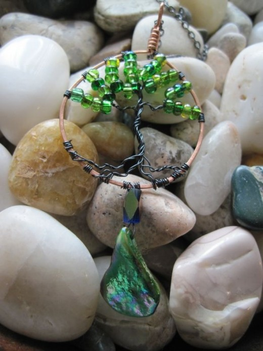 Tree of life with Green glass beads with shell pendant