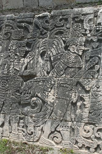 Symbols on the ball court wall of the Mayan Ruins
