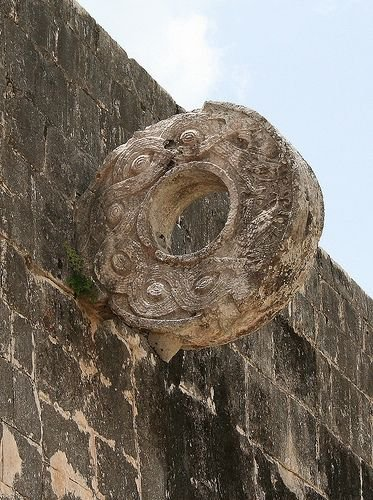 A close up of the ring that is believed was a type of basket for the Mayan Ball game