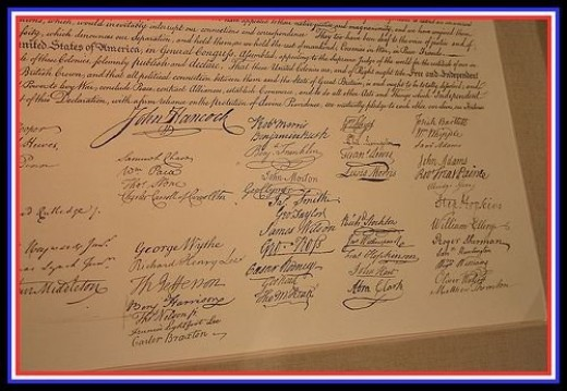 Signatures of our Founding Fathers on the Declaration of Independence