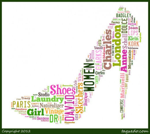 This one was created by pasting in the brand names of shoes and choosing the layout as orthogonal (means that it will arrange horizontal and vertical only) and not place any words on an angle. I also deselected some fonts that I don't particularly li