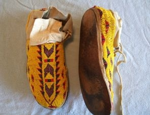 Vintage Moccasins very tightly beaded in the Traditional Ways