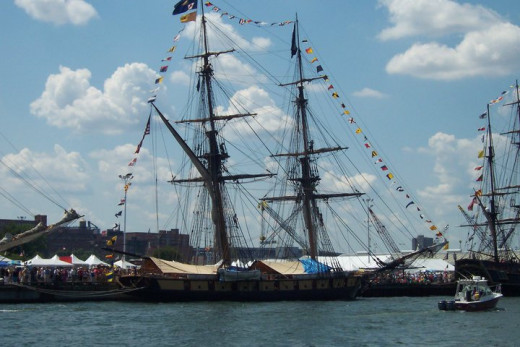 The Flagship Niagara in port at a festival.