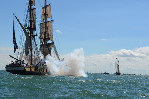 A big blast from Niagara sends out a cloud of smoke after a few pounds of gunpowder go off.