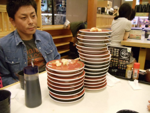 This is my host father after we all went out for conveyor-belt-sushi (kaitenzushi).