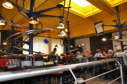 Baggers, a restaurant in Nuremberg, Germany, where there are no waiters. The food is ordered electronically and delivered to you via chutes.
