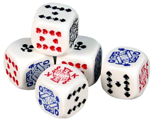 Poker dice (however mine look more like  well I'll have to find the shape (or my set won't I?)