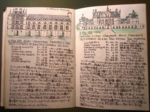 sample of a journal page (I'm guessing travel) by someone from Japan  or China (korea?)  (sorry I don't knwo the dif. between the writings)