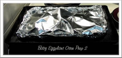 I made a foil tent top to allow the eggplant to steam bake without drying out.