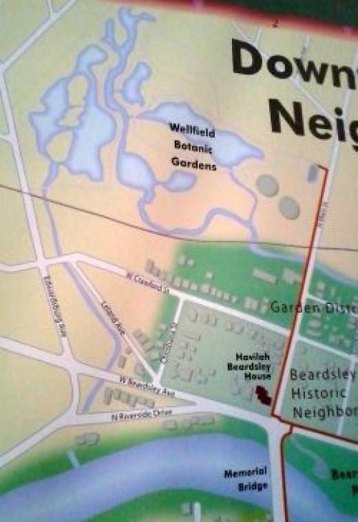 Map showing Wellfield Botanic Gardens in Elkhart