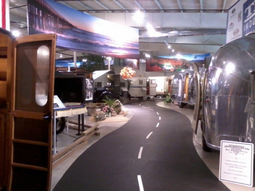 "View down the ""highway"" in the vintage RV display room. More than 50 vintage RVs. Many are probably irreplaceable. These will take you back in time..."