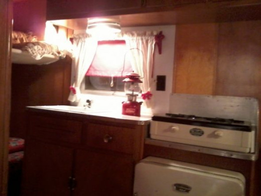 Kitchen in a 1954 Holiday Rambler travel trailer