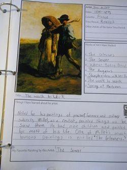High School Art Appreciation notebook page