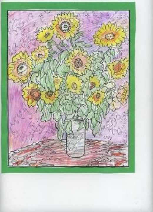 Monet Sunflowers with colored pencils