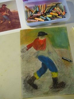 Millet copy with oil pastels