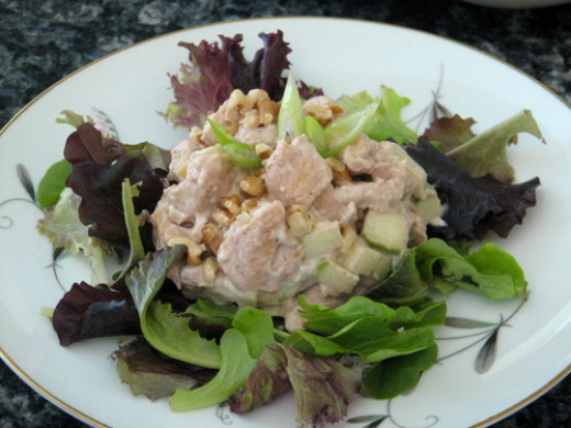 Chicken salad on a bed of fresh greens