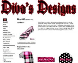 Old screenshot of my Zazzle webstore, Diva's Designs.
