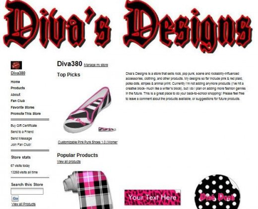 Old screenshot of my Zazzle webstore, Diva's Designs.