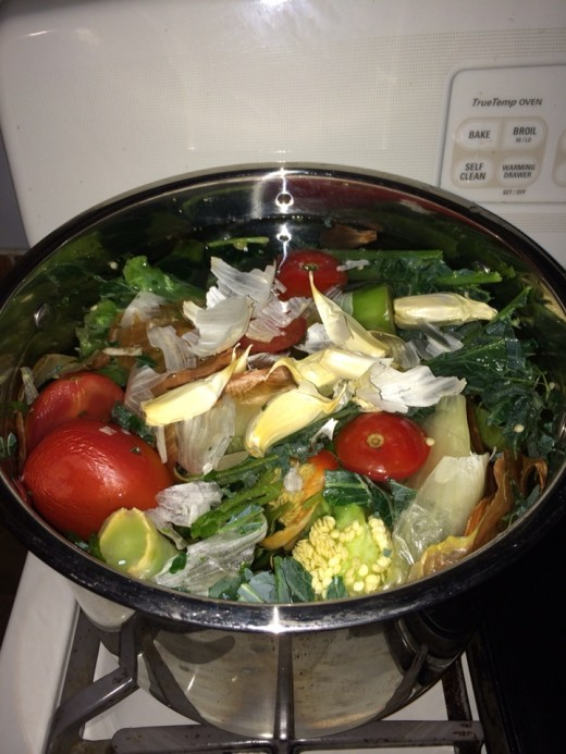 Just add water: My pot full of veggie scraps are ready to transform themselves into a delicious broth.
