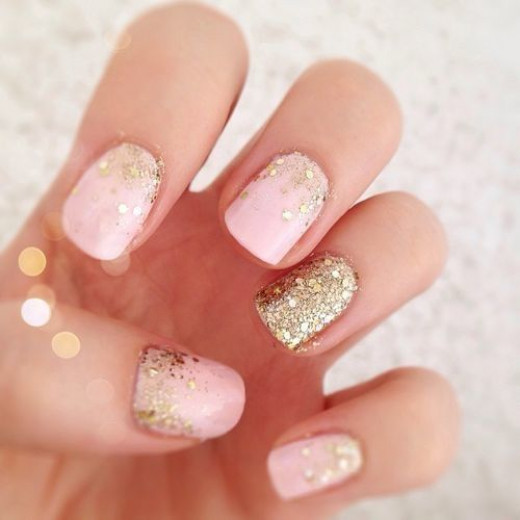 Gorgeous Pink and Gold Wedding Manicure!