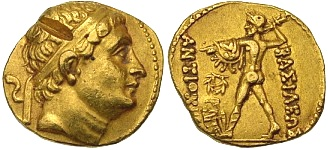 Baktria, Diodotus I as Satrap for Antiochus II Theos, c. 255 - 250 B.C. Gold