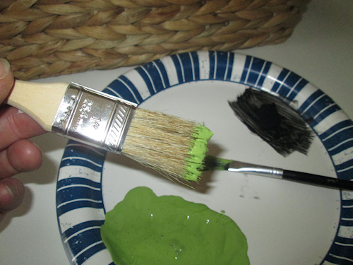 I used my chip brush next. To do a dry brush technique, I dipped just the ends into the lime paint and then dabbed it on the paper plate.